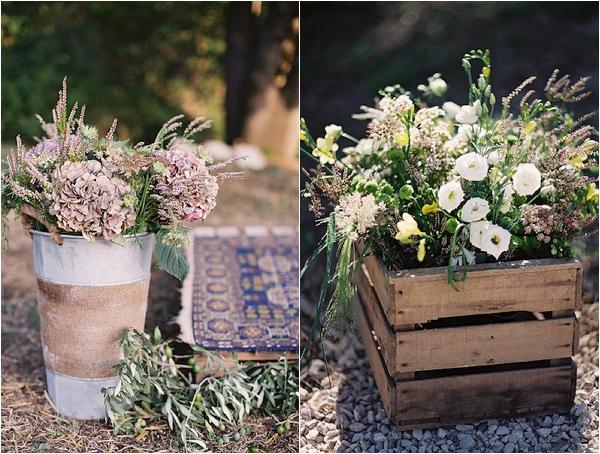 crates of wedding flowers