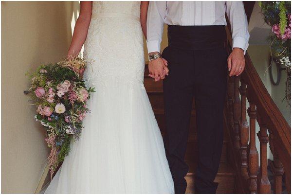 pink wild wedding bouquet
