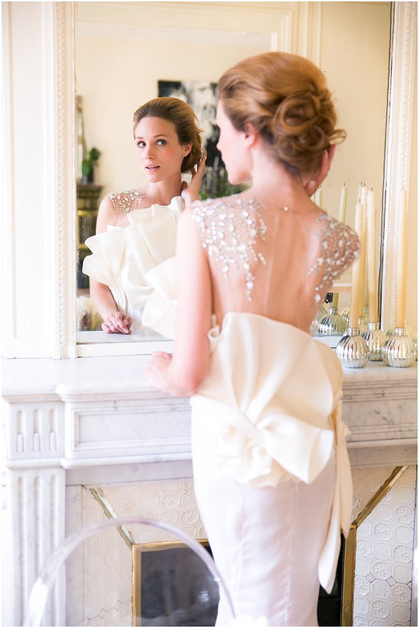 ruffles and diamond wedding dress