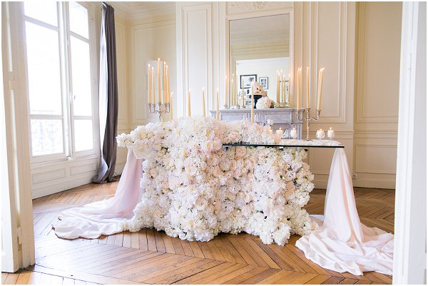 table covered in flowers