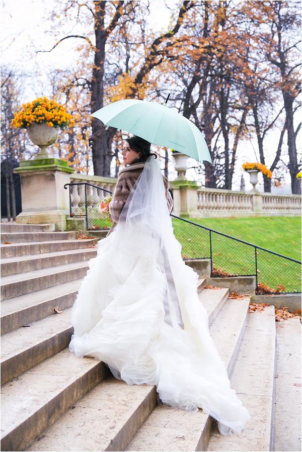 bride in the rain