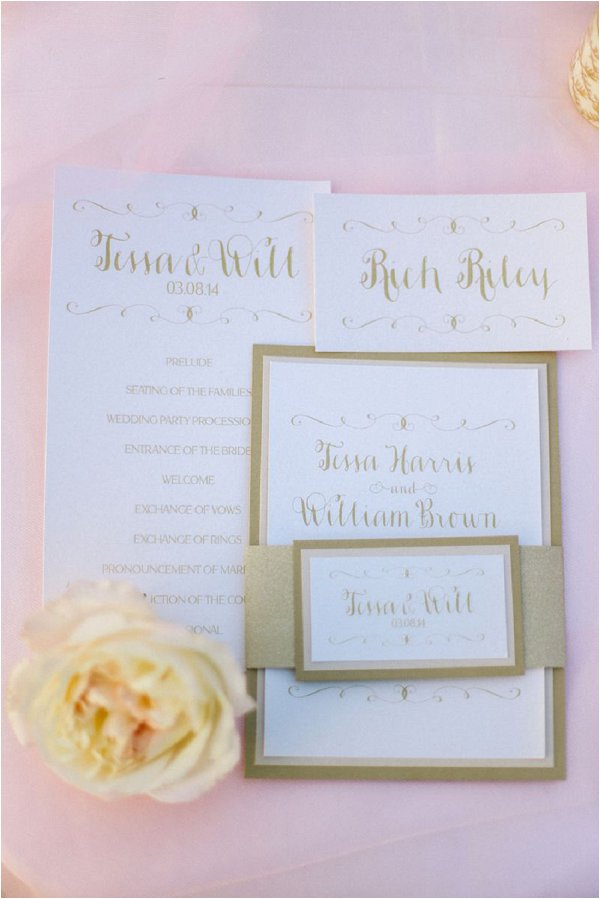 gold and pink wedding stationery