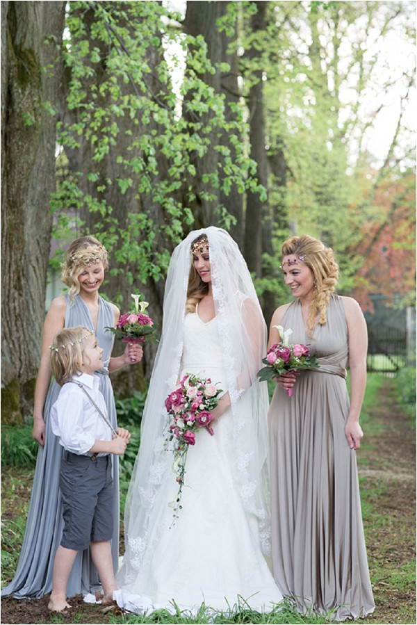grey styled bridesmaids