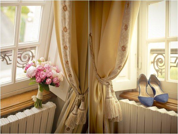 pink bouquet blue shoes