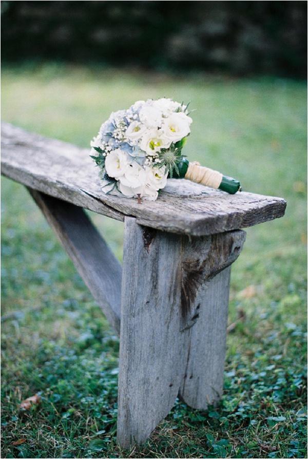 bouquet on bench