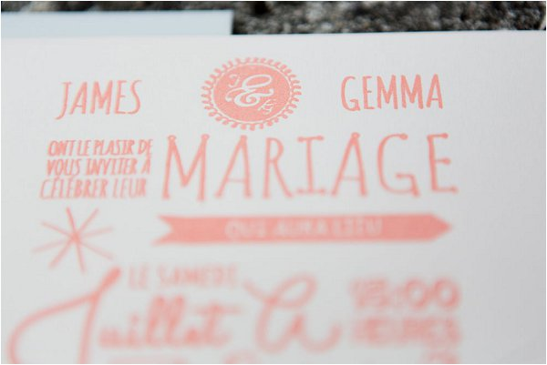 coral and cream wedding stationery