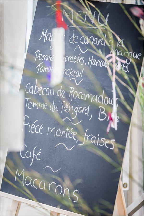 hand written wedding menu