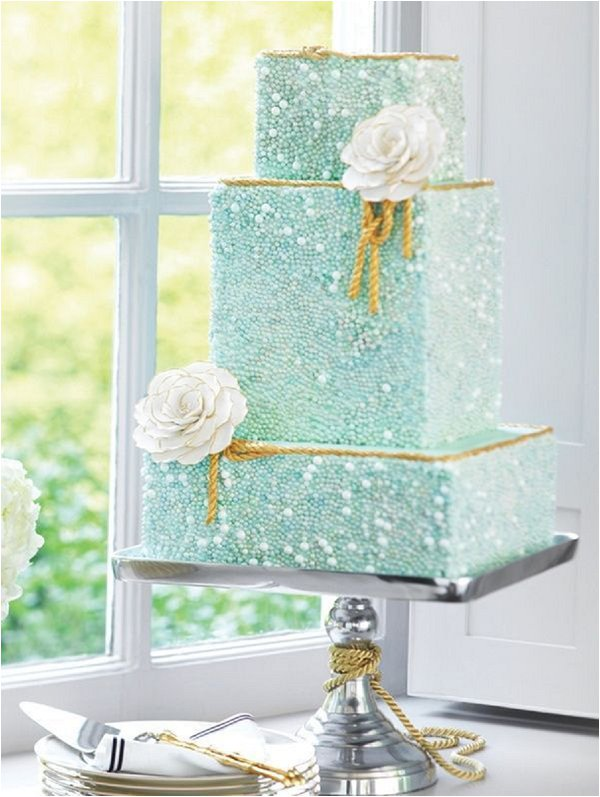 mint green beaded wedding cake
