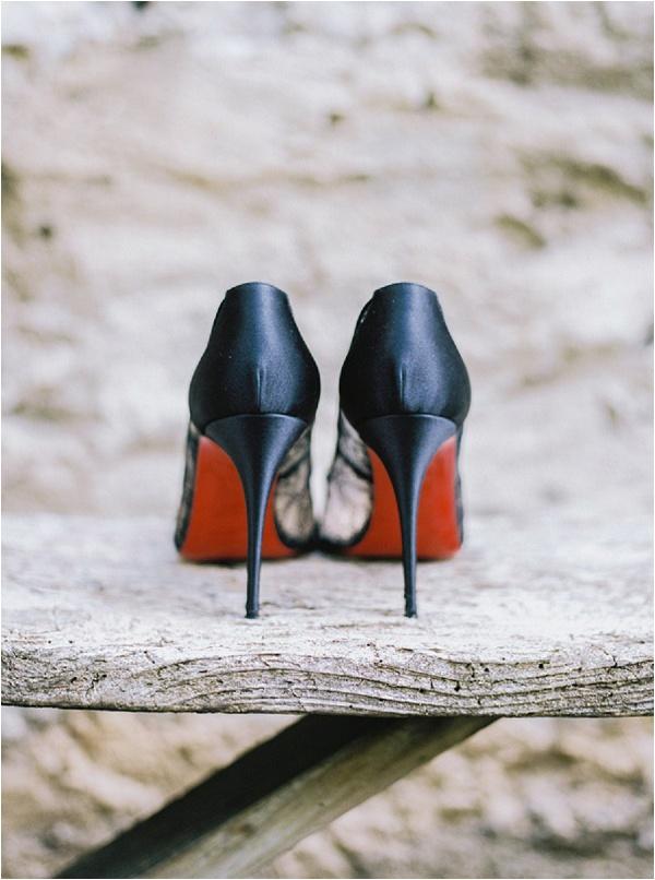 Black Louboutin wedding shoes