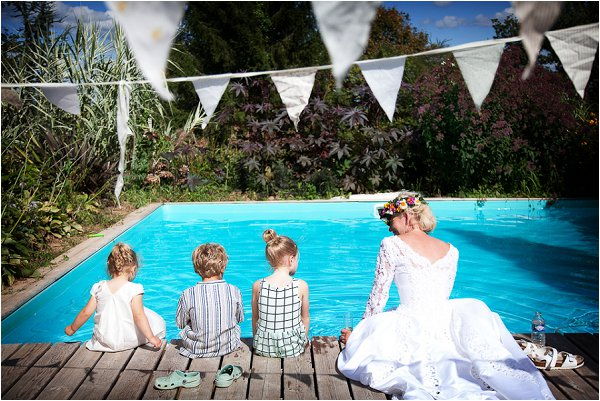 wedding day by pool