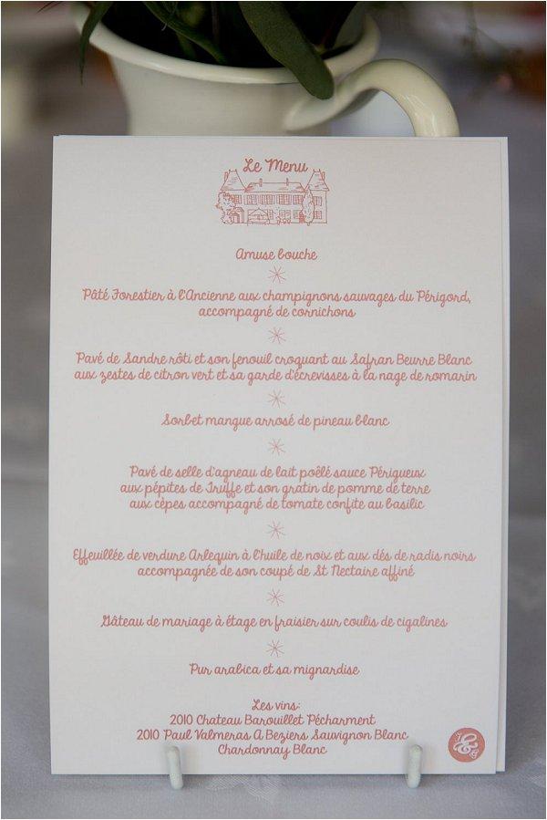 wedding menu