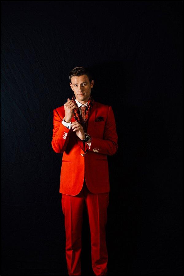 Orange groom suit