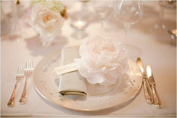pink white wedding setting