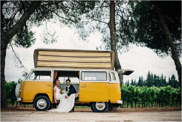 wedding yellow campervan