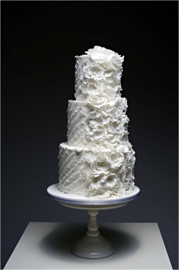 White ruffle wedding cake by Cakes by Beth