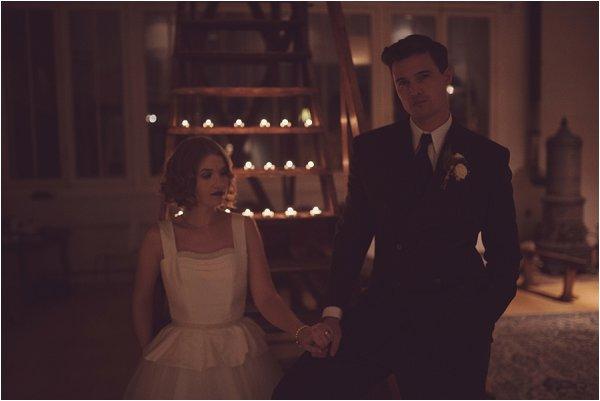 Film noir bride and groom