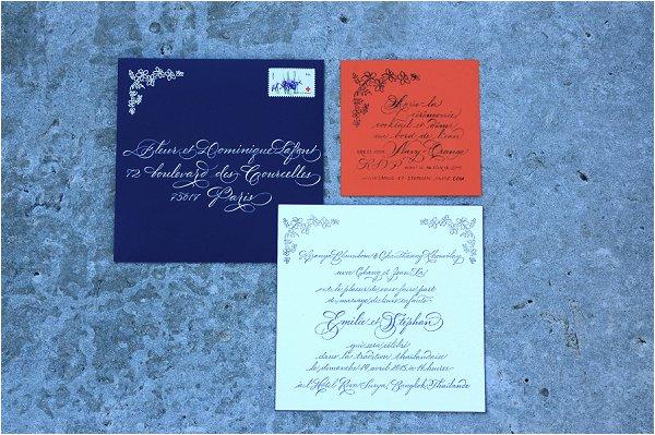 navy and black wedding calligraphy