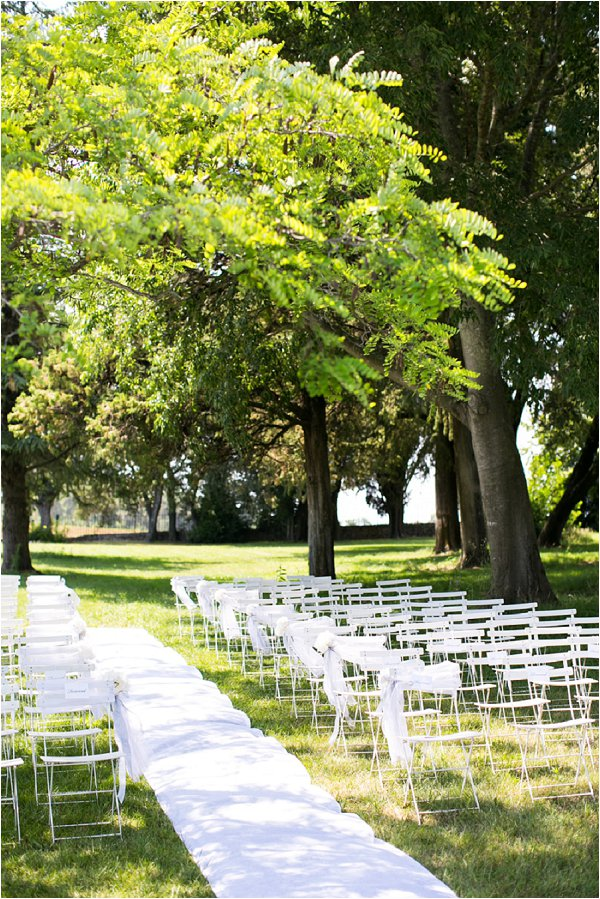 outdoor white wedding ceremony