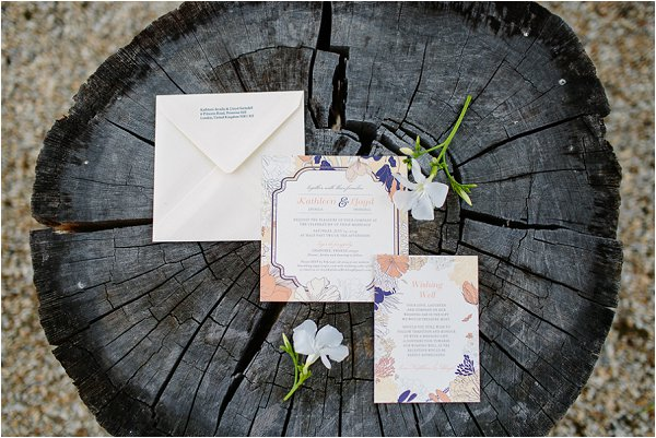 peach navy wedding invites