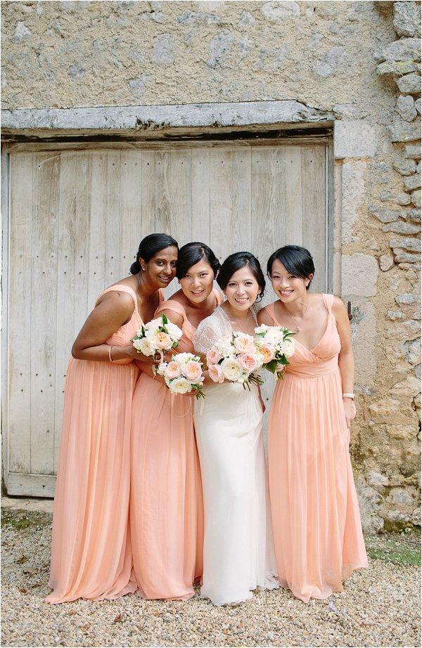 peach white bridesmaids