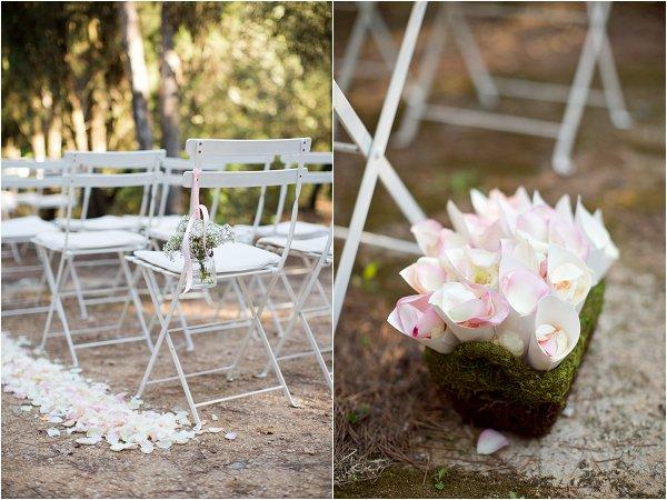 petal lined wedding