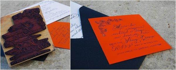 black calligraphy invitations