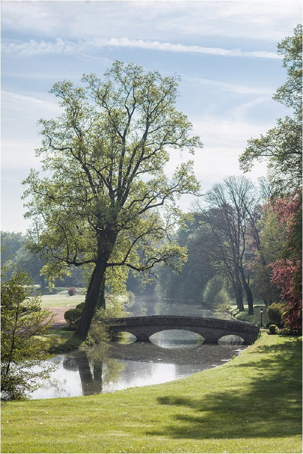 romantic bridge in park
