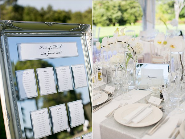 white silver wedding table