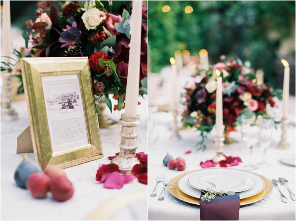 ruby and gold wedding table