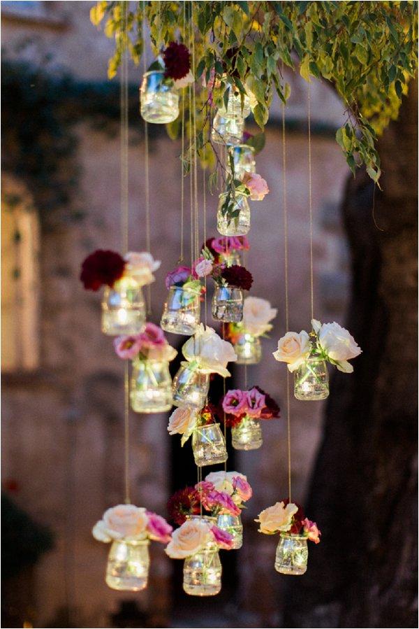 wedding hanging jam jars