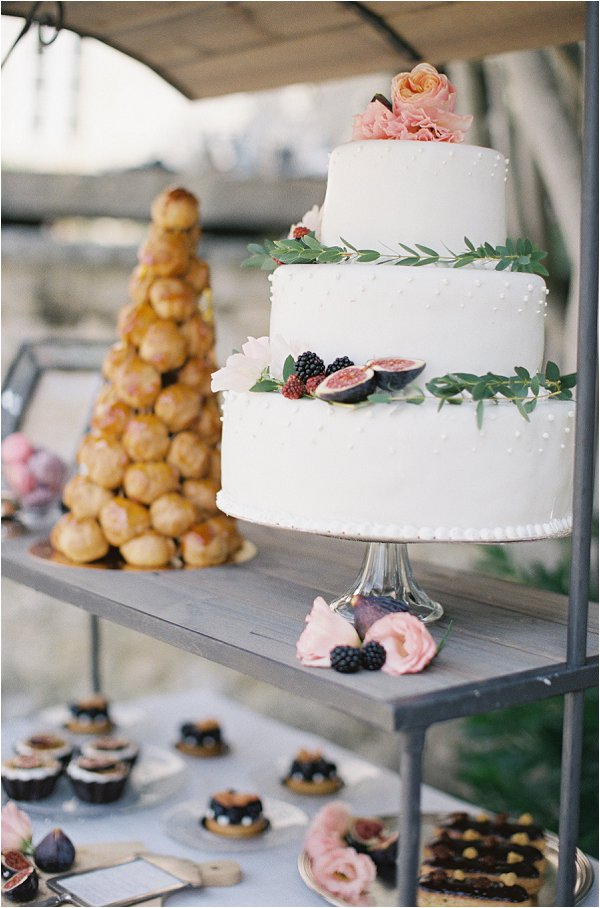 white olive wedding cake