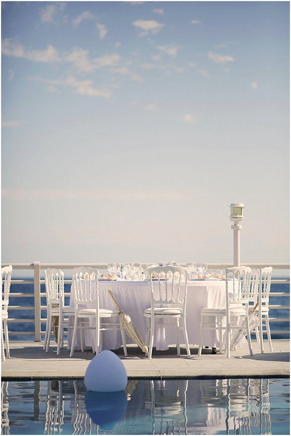 Classic white poolside wedding