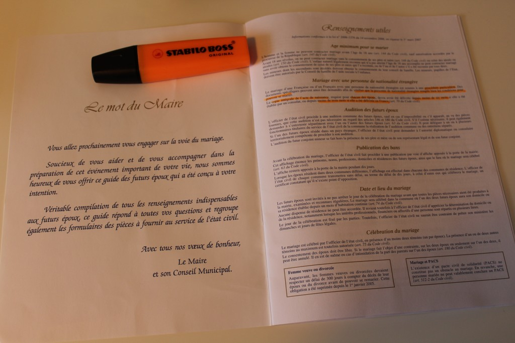 Legal Documents required for getting married in France