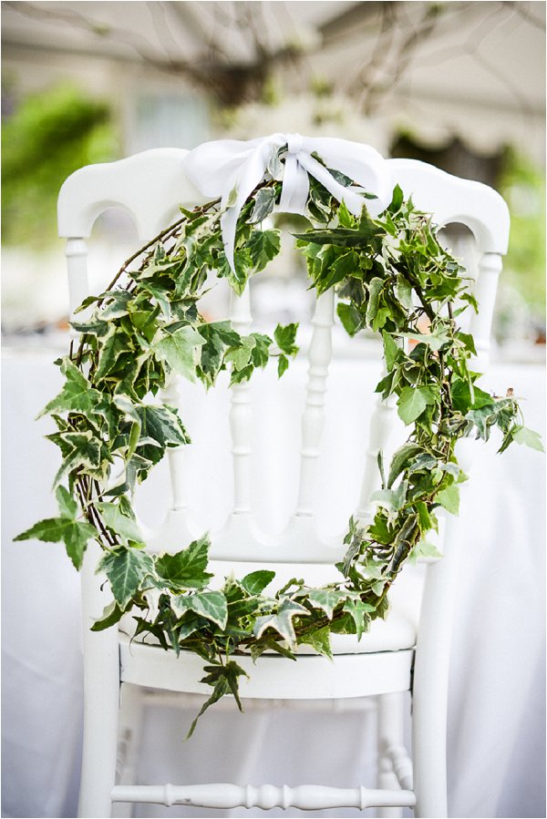 floral wreath wedding chair