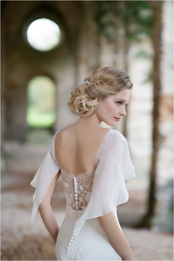 lace back sheer wedding dress