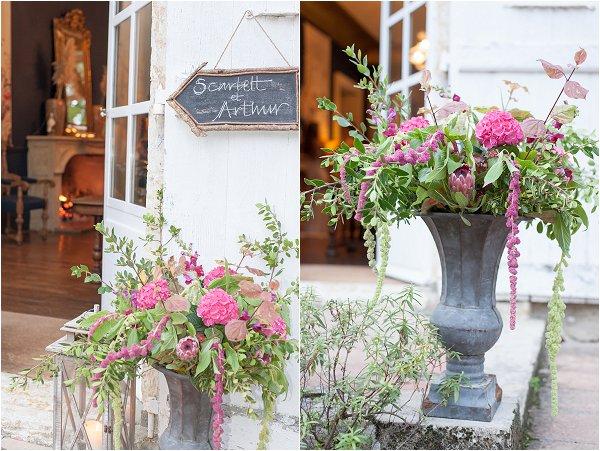 pink wild wedding flowers