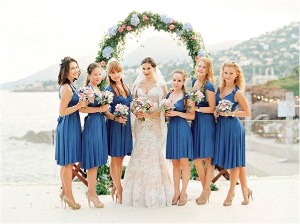 short blue wedding dresses