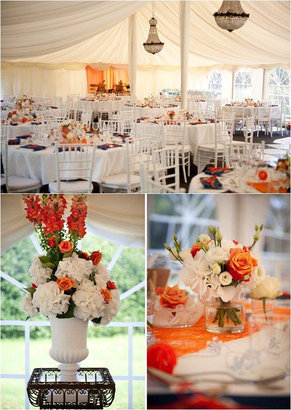 orange and white themed wedding