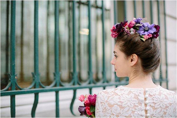 real flowers in bridal hair