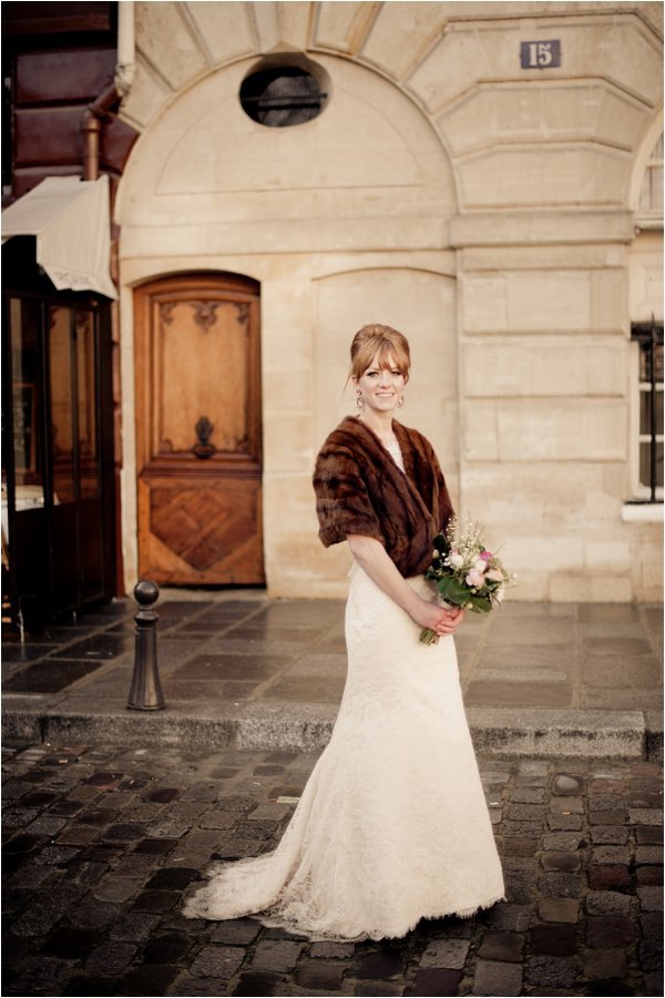 vintage fur bridal wrap