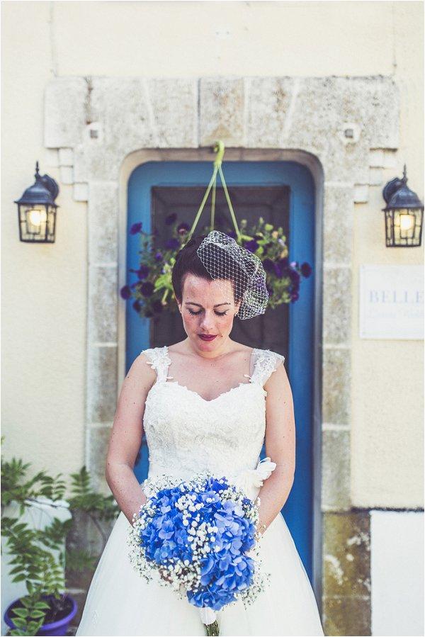 Blue bridal accessories