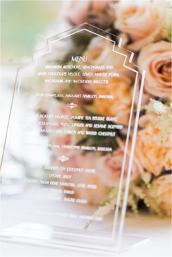 perspex wedding menu