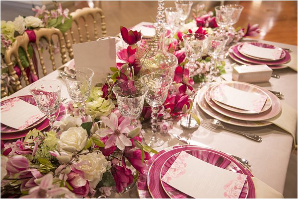 pink and cream wedding table