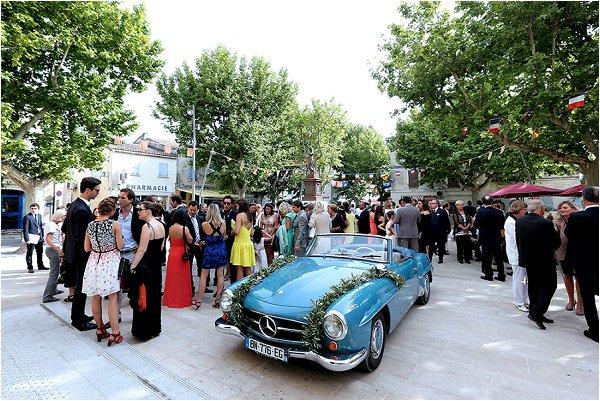 pretty blue wedding car