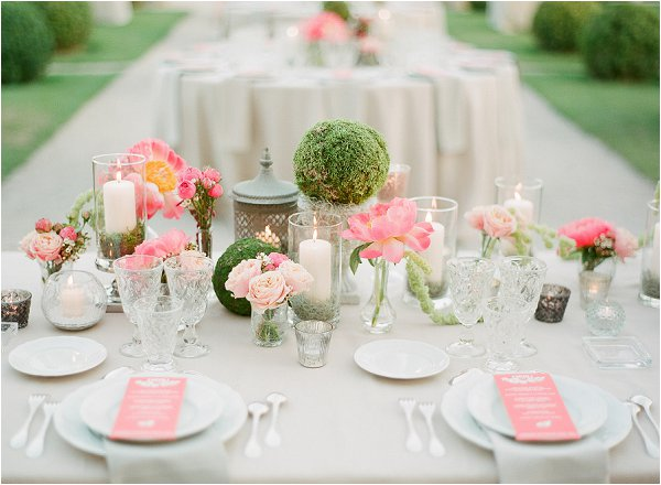 Coral and ivory wedding flowers