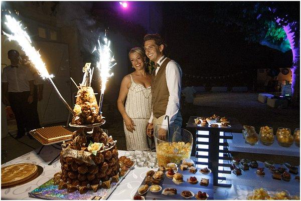 French wedding cake with fireworks