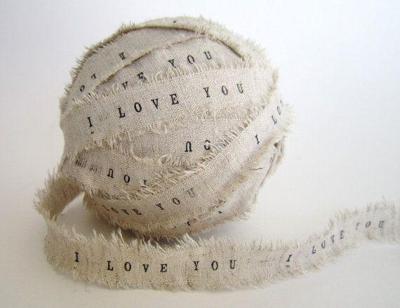 I love you burlap ribbon