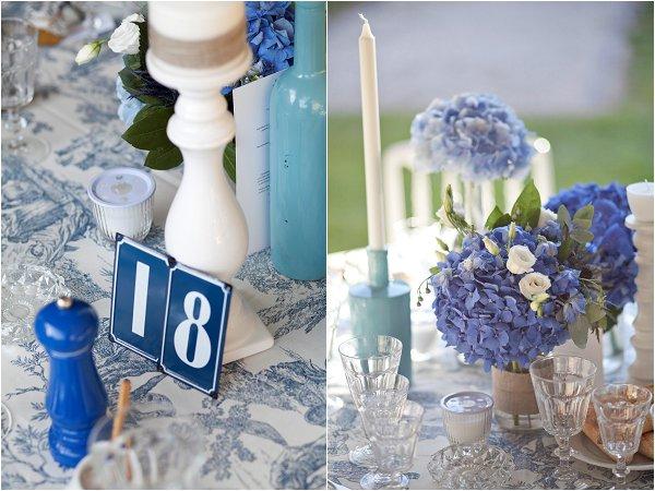 blue style wedding decor