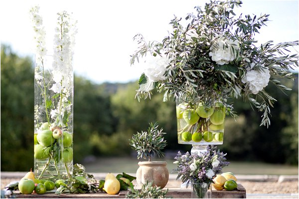 using fruit in wedding floral design