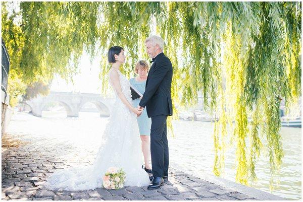 wedding on banks of River Seine